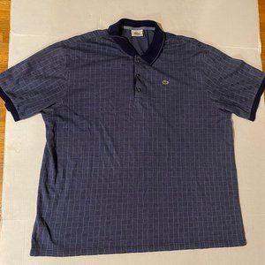 Vintage Men's Lacoste Light Checkered Blue Polo -8
